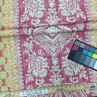 """Touch of Provence in French Lilac   Bohemian Damask   Purple / Orange / Pink / Green   Upholstery / Drapery Fabric   P/Kaufmann   54"""" Wide   By the Yard"""