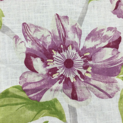 """Cloud 9 in Raspberry   Floral in Purple / Green / Natural Off-White   Upholstery / Drapery Fabric   Braemore   54"""" Wide   By the Yard"""