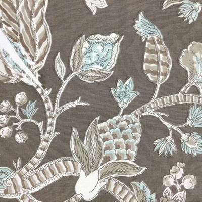 """Brookview in Mink   Jacobean Floral in Taupe / Blue / White   Upholstery / Drapery Fabric   P/Kaufmann   54"""" Wide   By the Yard"""