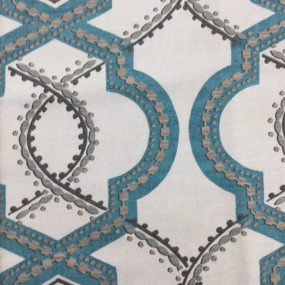 """Turnabout in Robins Egg   Decorative Lattice in Blue / White / Grey   Upholstery / Drapery Fabric   P/Kaufmann   54"""" Wide   By the Yard"""