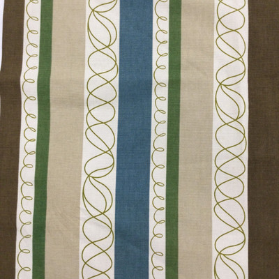 """Hot Stripe in Desert Sand   Doodle Stripes in Brown / Green / Blue   Upholstery / Drapery Fabric   P/Kaufmann   54"""" Wide   By the Yard"""