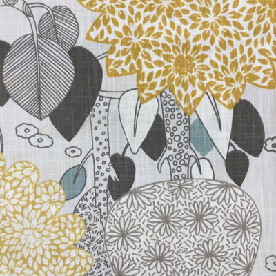 """Nature's Haven in Dove   Modern Whimsical Trees in Gray / Yellow / Green   Upholstery / Drapery Fabric   P/Kaufmann   54"""" Wide   By the Yard"""
