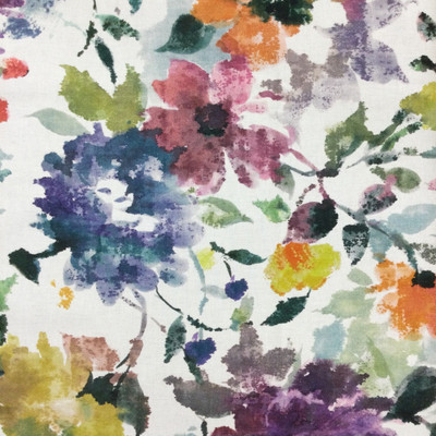 """Inspiration in Garden   Abstract Floral in Teal / Purple / Yellow / Orange   Upholstery / Drapery Fabric   P/Kaufmann   54"""" Wide   By the Yard"""