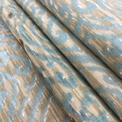 """Srilanka in Driftwood   Ikat Damask in Brown / Blue   Upholstery / Drapery Fabric   P/K Lifestyles   54"""" Wide   By the Yard"""