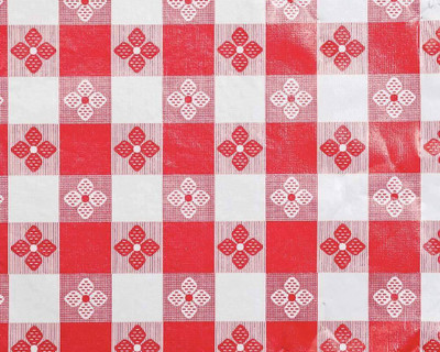 1.75 Yard Piece of Red and White Tavern Check Table Cloth Vinyl w/ Flannel Back