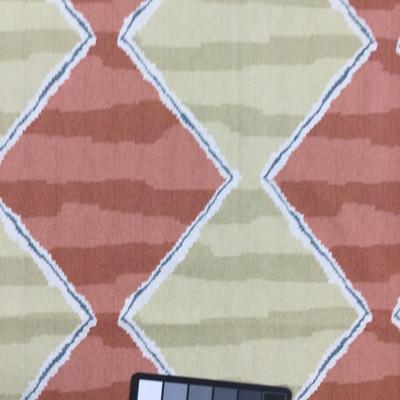 "Gustavian in Prairie   Diamond Geometric in Salmon and Khaki   Upholstery / Drapery Fabric   Robert Allen   54"" Wide   By the Yard"