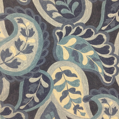 """Rhianna in Indigo   Large-Scale Blue Paisley in Shades of Blue   Upholstery / Drapery Fabric   Robert Allen   54"""" Wide   By the Yard"""