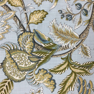 """Jacobean in Mineral   Floral Linen-Like Fabric in Blue / Tan / White   Upholstery / Drapery   Robert Allen   54"""" Wide   By the Yard"""