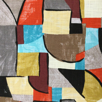 """Pablo in Vintage   Picasso Style Abstract in Blue / Red / Yellow / Grey   Home Decor Fabric   Covington Fabrics   54"""" Wide   By the Yard"""