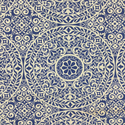 """Tienchi in Indigo   Circular Scroll Design in Blue and Natural Beige   Upholstery / Drapery Fabric   Richloom   54"""" Wide   By the Yard"""