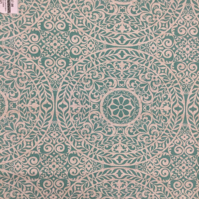 """Tienchi in Turquoise   Circular Scrollwork Design in Turquoise Green   Upholstery / Drapery Fabric   Richloom   54"""" Wide   By the Yard"""