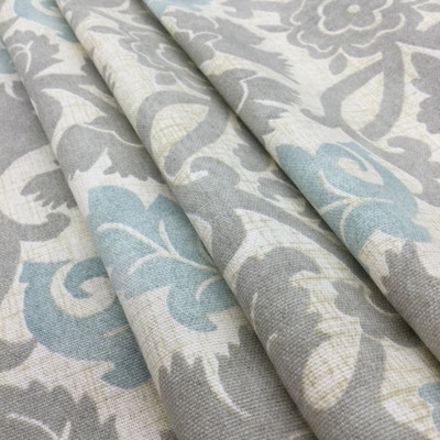 """Anika in Spa by   Damask in Blue / Gray   Upholstery / Drapery Fabric   Waverly   54"""" Wide   By the Yard"""