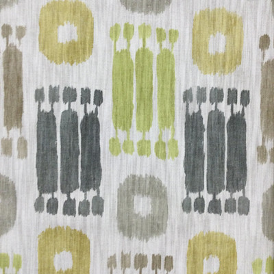 """Pichu in Citrine   Ikat Design in Green / Grey / Taupe   Upholstery / Drapery Fabric   Richloom   54"""" Wide   By the Yard"""