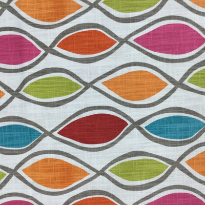"""Dervish in Fruity   Ogee in Pink, Green, Orange, Blue   Home Decor Fabric   Richloom Brand   Drapery / Upholstery   54"""" Wide   By the Yard"""