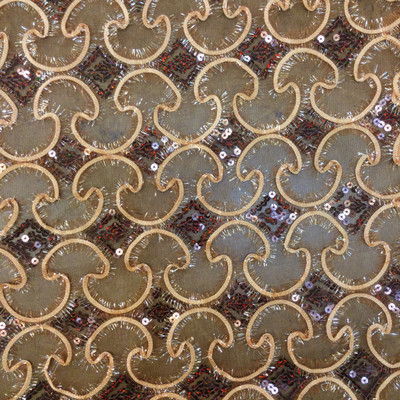 Brown/Tan Metallic Sequin Mesh Fabric   Special Occasion or Costume   By The Yard   44/45 Inch Wide