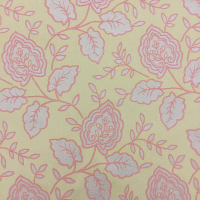 """Peach and Muted Yellow Floral Upholstery Fabric 