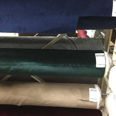 Emerald Green Flocked Velvet Upholstery Fabric | 54 Inches | By the Yard | Soft