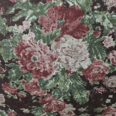 """Brick Red / Pink Rose Floral on Dark Maroon Drapery Fabric By The Yard 54""""W"""