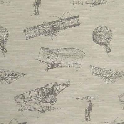 Regal | Flying Machines | Dusk | Jacquard Sketch Aircraft Upholstery Fabric