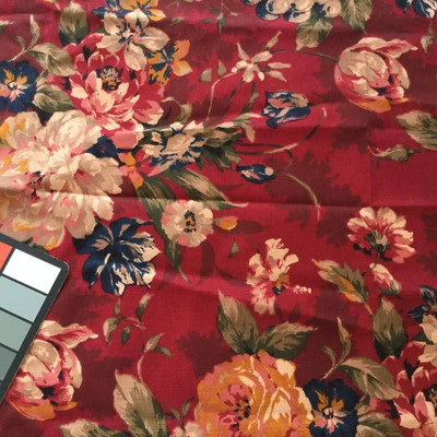 Floral Red / Blue / Pink   Home Decor / Drapery Fabric   54 Wide   By the Yard