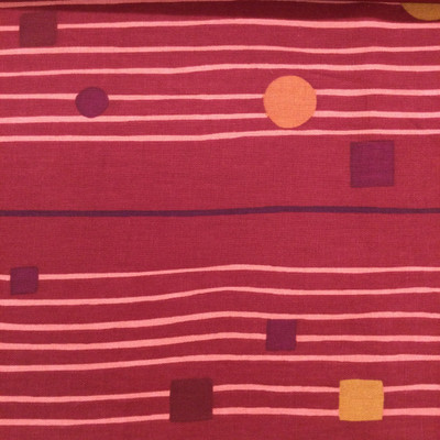 """Geometric Squares and Stripes   Red / Orange   Home Decor Fabric   54"""" Wide   By the Yard"""