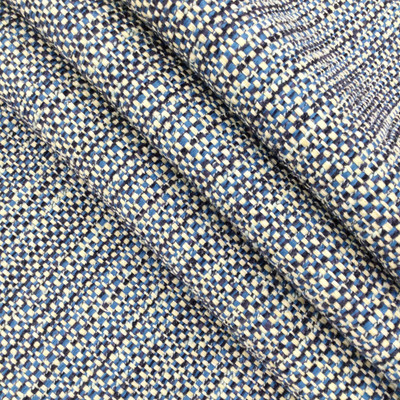 "Kilimanjaro in Indigo   Blue / Beige Basketweave   Heavyweight Upholstery Fabric   54"" Wide   By the Yard"