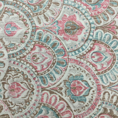 """Bohemian Scallop Geometric in Teal / Pink / Brown   Home Decor Fabric   54"""" Wide   By the Yard"""