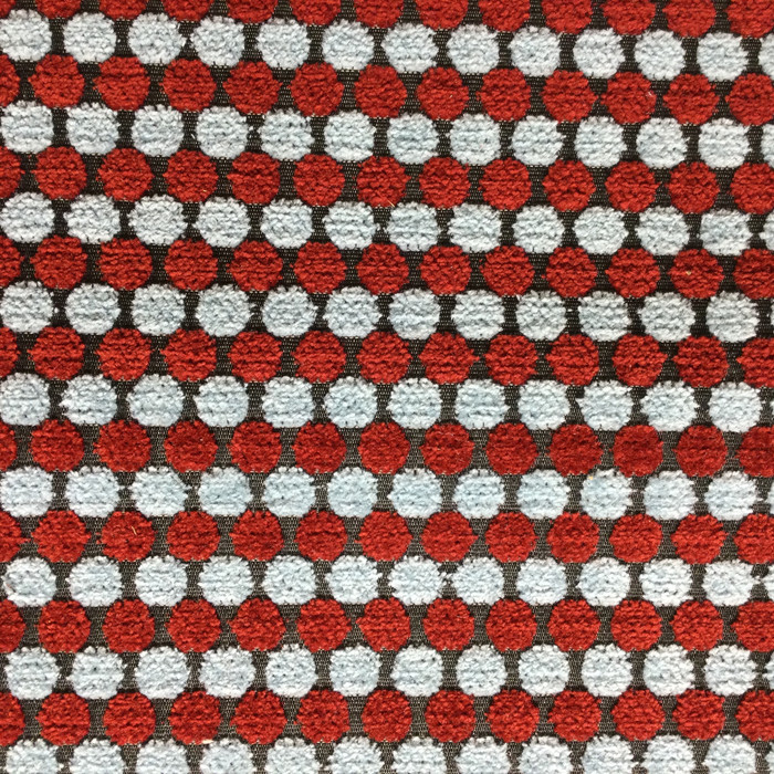 "Red and Blue Dotted Stripes | Upholstery Fabric | 54"" Wide 