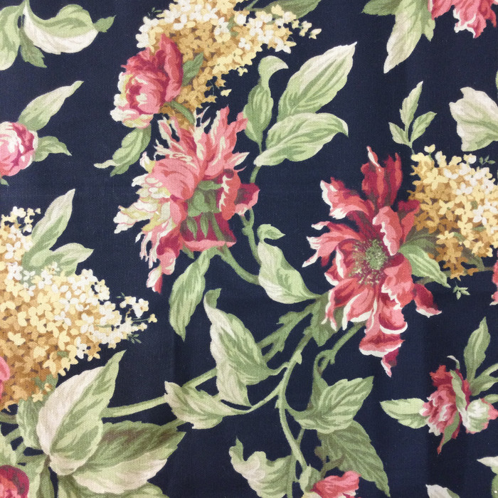 Floral in Pink, Green, and Black | Home Decor Fabric | 46 Wide | By the Yard