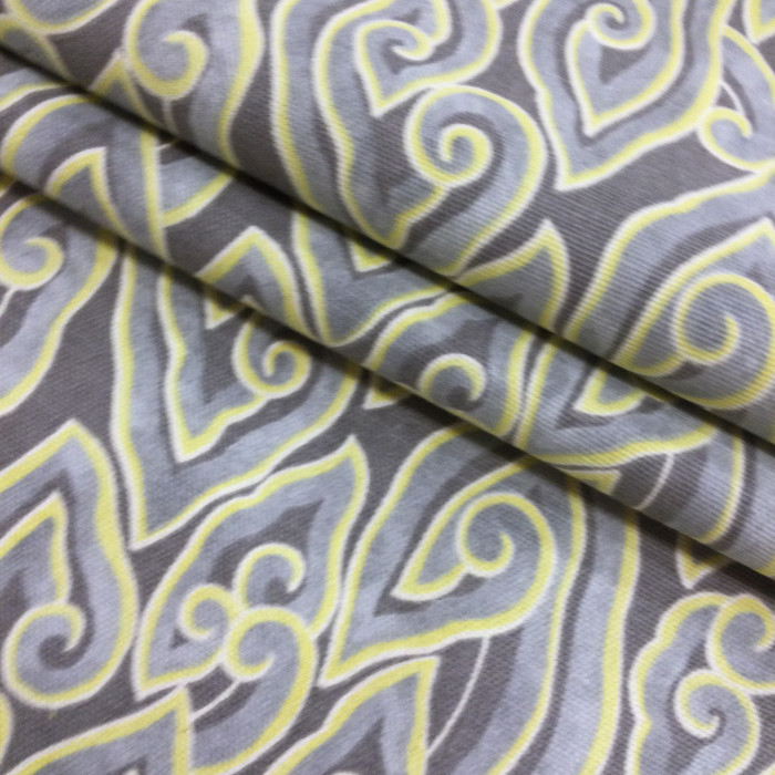 "5.8 Yard Piece of Taupe / Gray / Yellow Home Decor Fabric | 54"" Wide 