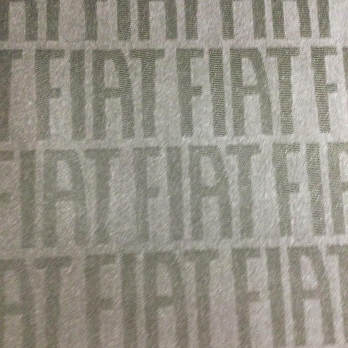 1.8 Yard Piece of Upholstery Fabric | Black / Gray Fiat Lettering | Slipcovers / Home Decor | 54""