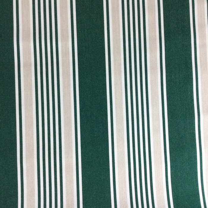"3.55 Yard Piece of Indoor / Outdoor Upholstery Fabric | Vintage Stripes Green / White | 54"" Wide"