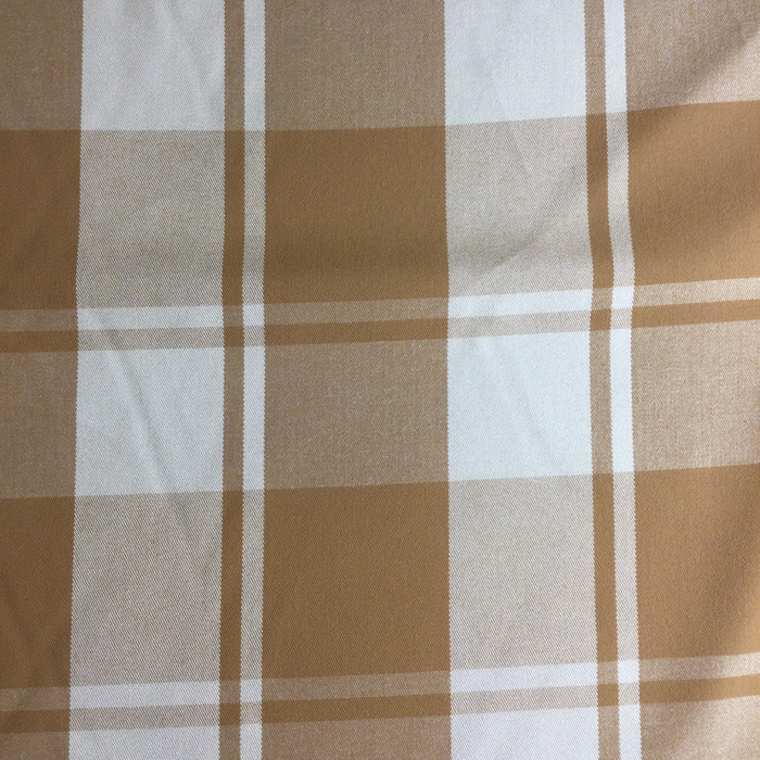 "Brown / Beige Plaid | Indoor / Outdoor Upholstery Fabric | 54"" Wide 