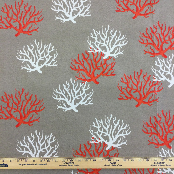 """4.67 Yard Piece of Outdoor Home Decor Fabric   Nautical Coral Taupe / White / Red   54"""" Wide"""