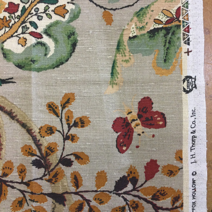 "2.55 Yard Piece of Home Decor Fabric | Branches with Birds and Butterflies Taupe / Green / Red | Upholstery / Drapery | 54"" Wide"
