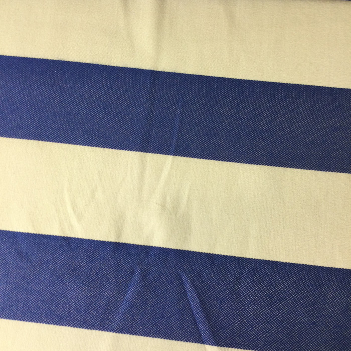"""6.8 Yard Piece of Upholstery Fabric   Wide Stripes Blue and Off White   54"""" Wide"""