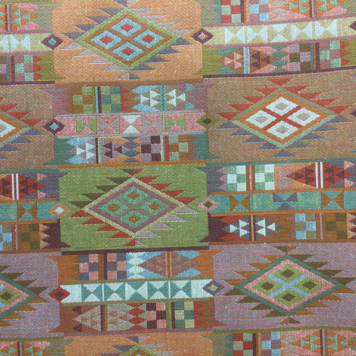 "2.3 Yard Piece of Upholstery Fabric | Aztec Patchwork Multicolored | 54"" Wide"