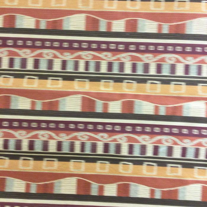 "5.8 Yard Piece of Upholstery Fabric   Stylized Stripes Orange / Red / Beige   54"" Wide"