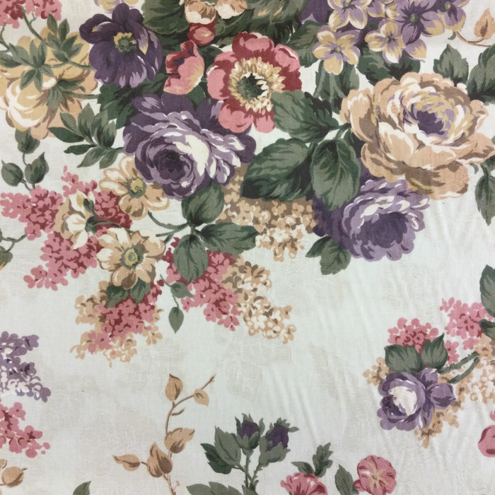 "2.8 Yard Piece of Home Decor Fabric | Antique Floral Green / Red / Pink | Upholstery / Drapery | 54"" Wide"