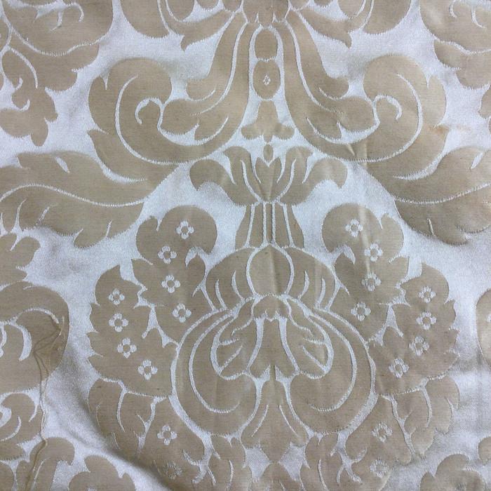 "5.8 Yard Piece of Drapery Fabric | Traditional Tan Damask | 54"" Wide"