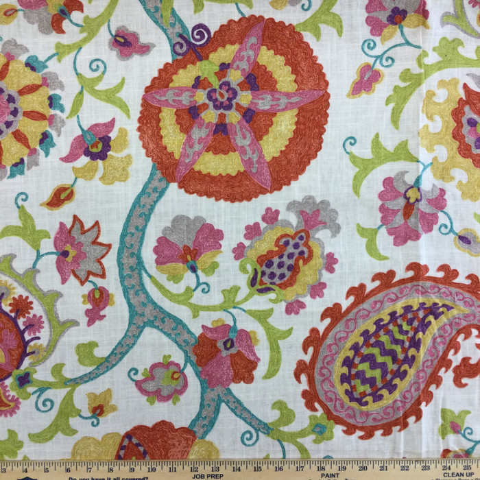 "3.8 Yard Piece of Home Decor Fabric | Doodled Jacobean Floral Multicolored | Upholstery / Drapery | 54"" Wide"