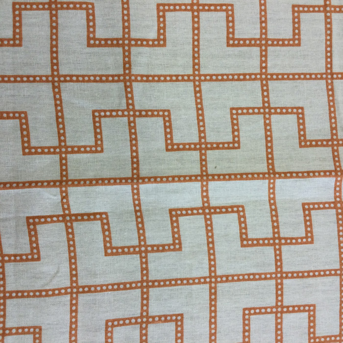 "3.05 Yard Piece of Home Decor Fabric | Modern Geometric Orange / Off White  | Upholstery / Drapery | 54"" Wide"