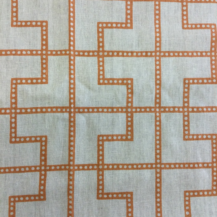 "3.3 Yard Piece of Home Decor Fabric | Modern Geometric Orange / Off White | Upholstery / Drapery | 54"" Wide"