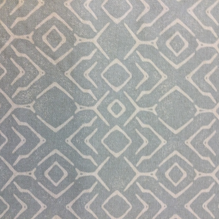 "2.55 Yard Piece of Home Decor Fabric | Bohemian Lattice Muted Blue / White | Upholstery / Drapery | 54"" Wide"