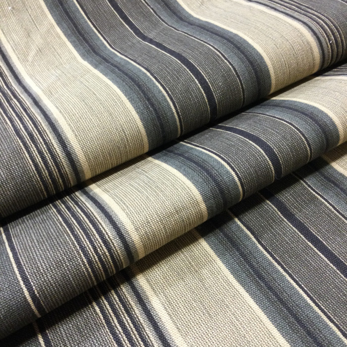 """5.46 Yard Piece of Home Decor Fabric   Stripes Taupe / Tan / Black   Upholstery / Drapery   54"""" Wide"""
