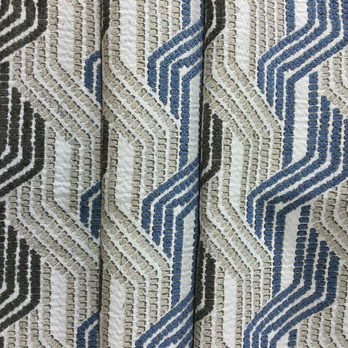 "3.3 Yard Piece of Upholstery Fabric | Travelling Stripes Beige / Blue / Taupe | 54"" Wide"