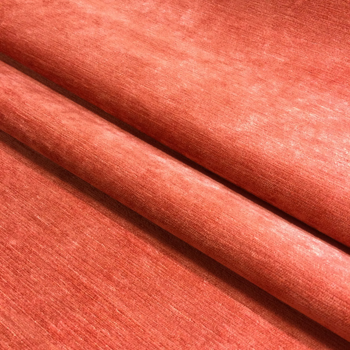 "3.55 Yard Piece of Upholstery Fabric | Solid Coral Pink Micro Chenille | 54"" Wide"