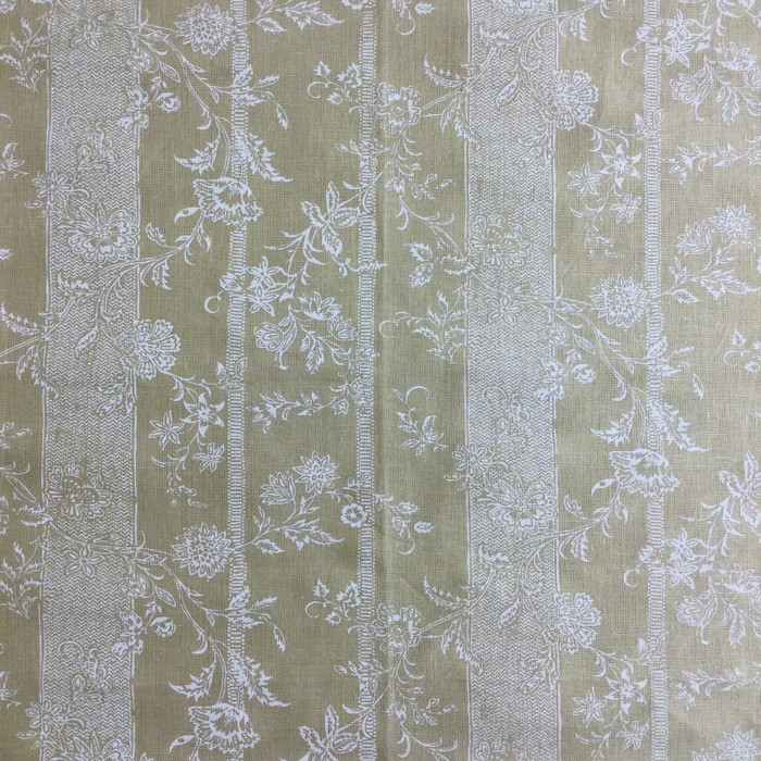 "3.46 Yard Piece of Home Decor Fabric | Floral with Stripes Khaki / White | Upholstery / Drapery | 54"" Wide"