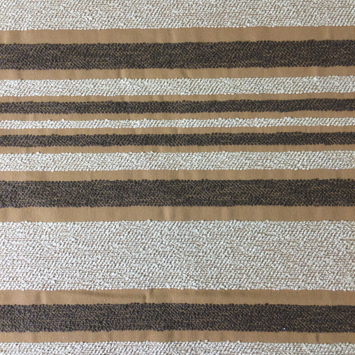 "3.8 Yard Piece of Upholstery Fabric | Raised Boucle Stripes Beige / Brown  | 54"" Wide"