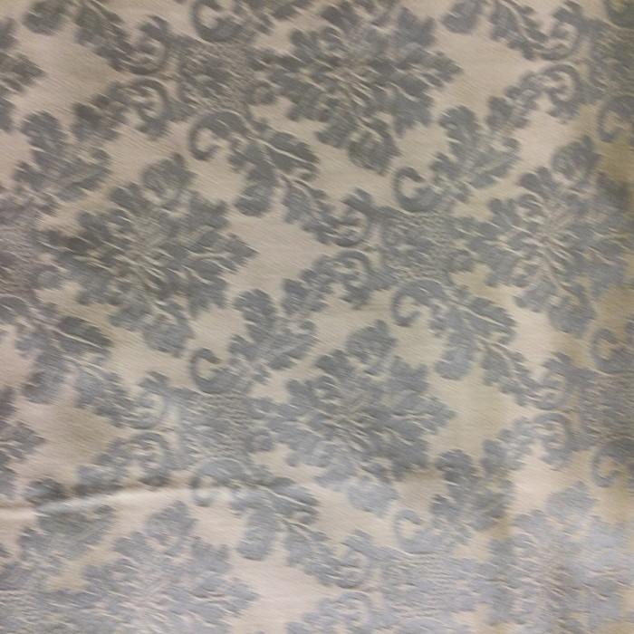"3.3 Yard Piece of Drapery Fabric | Damask Sage Green / Pale Yellow | 54"" Wide"